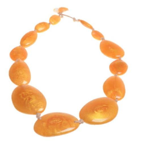 A Jackie Brazil Long Flat Riverstones Necklace in Gold